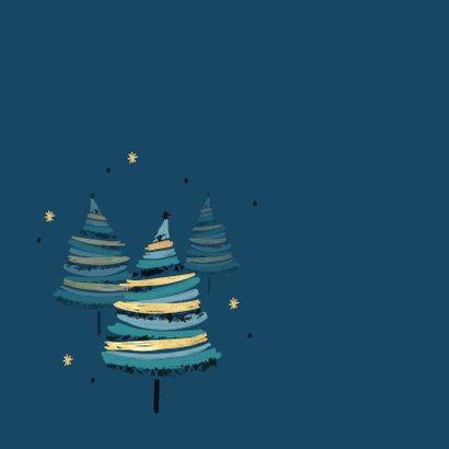Zakelijke kerstkaart stijlvol kerstbomen beste wensen goud 2
