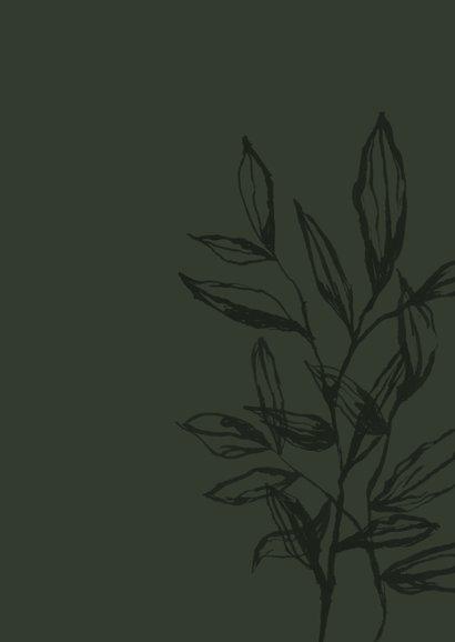 Zakelijke kerstkaart stijlvol olijfgroen bladeren goud foto Achterkant