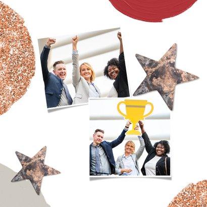 Zakelijke kerstkaart stijlvol sterren foto's verf glitter 2