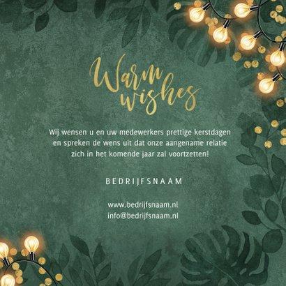 Zakelijke kerstkaart warm wishes lampjes groen botanisch 3
