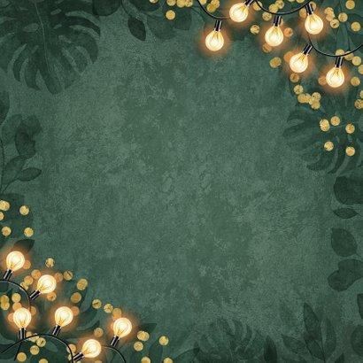 Zakelijke kerstkaart warm wishes lampjes groen botanisch Achterkant