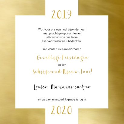 Zakelijke kerstkaart wit kader goud eigen foto 2020 3