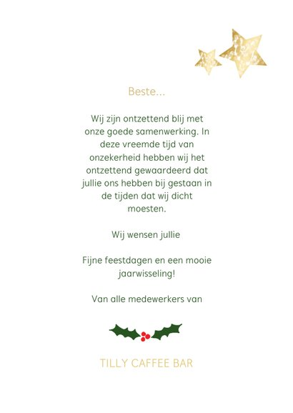 Zakelijke kerstkaart wit staand - een gouden kerst 3