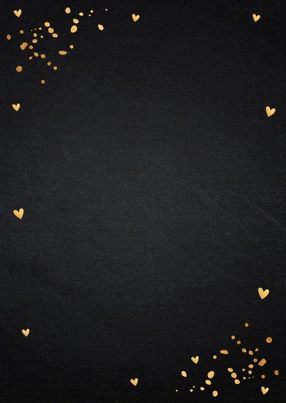 Zakelijke kerstkaart zwart foto goudlook confetti 2