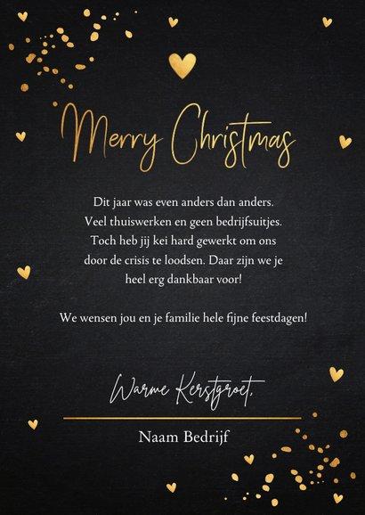Zakelijke kerstkaart zwart foto goudlook confetti 3