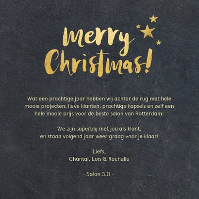 Zakelijke kerstkaart zwart kerstboom met gouden letters  3