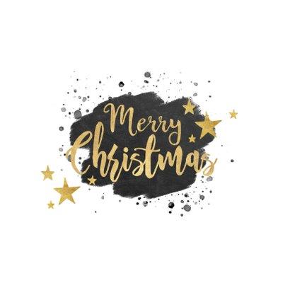Zakelijke kerstkaart zwarte waterverf en gouden typografie 2