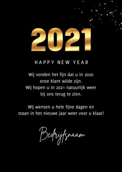 Zakelijke Nieuwjaarskaart 2021 goud cijfers spetters foto 3