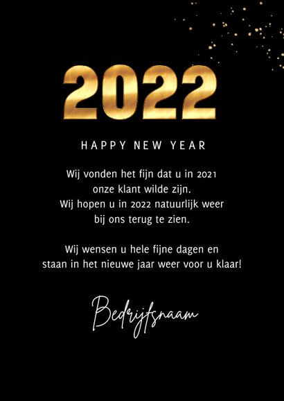 Zakelijke Nieuwjaarskaart 2022 goud cijfers spetters foto 3