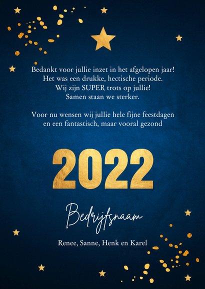 Zakelijke nieuwjaarskaart donkerblauw goudlook 3
