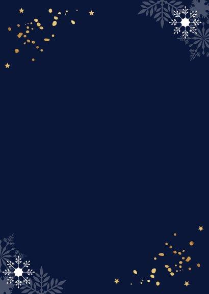 Zakelijke nieuwjaarskaart donkerblauw sneeuwvlokken goud 2