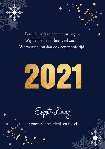 Zakelijke nieuwjaarskaart donkerblauw sneeuwvlokken goud 3