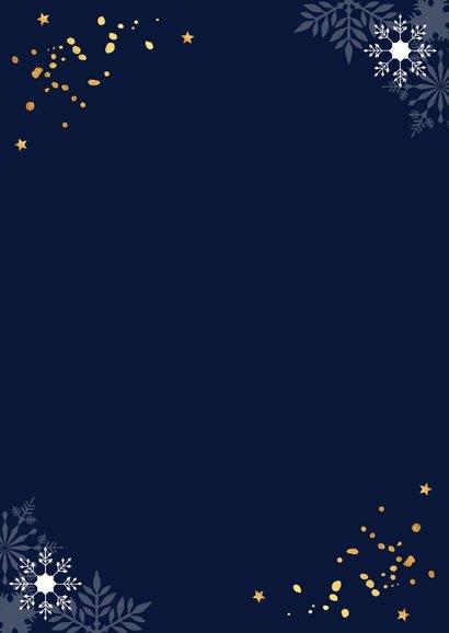 Zakelijke nieuwjaarskaart donkerblauw sneeuwvlokken goud Achterkant