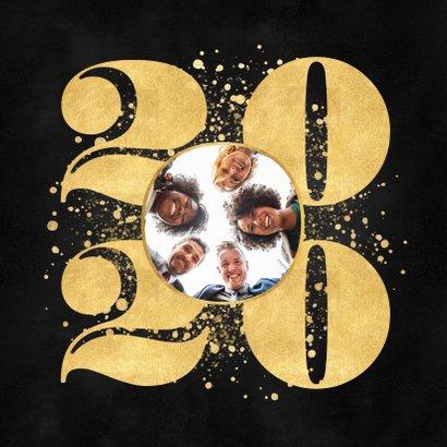 Zakelijke nieuwjaarskaart gouden 2020, spetters en logo 2