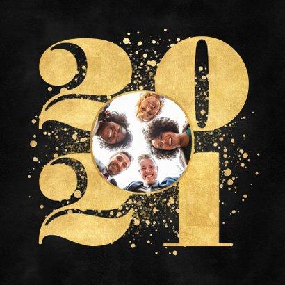 Zakelijke nieuwjaarskaart gouden 2021, spetters en logo 2
