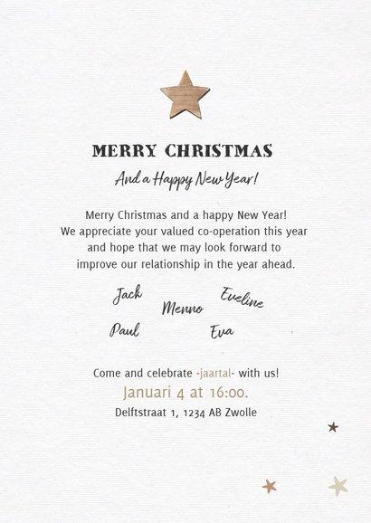 Zakelijke nieuwjaarskaart houtlook met fotocollageboom 3