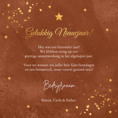Zakelijke Nieuwjaarskaart roestbruin goudlook confetti 3