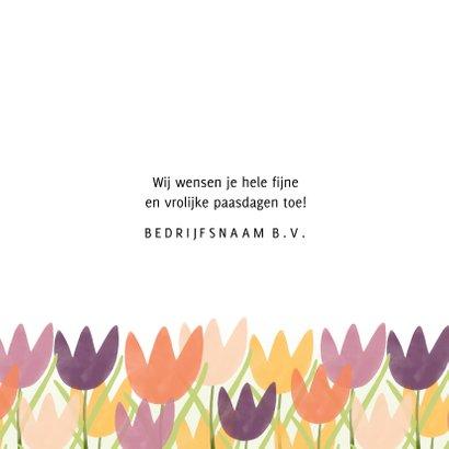 Zakelijke paaskaart vrolijk pasen met tulpen roze paars geel 3