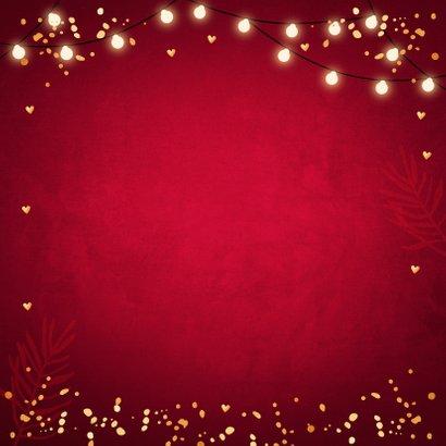 Zakelijke rode kerstkaart fotocollage lampjes confetti  Achterkant