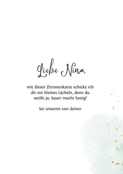 Zitronen-Grußkarte 'Sending you a smile' 3
