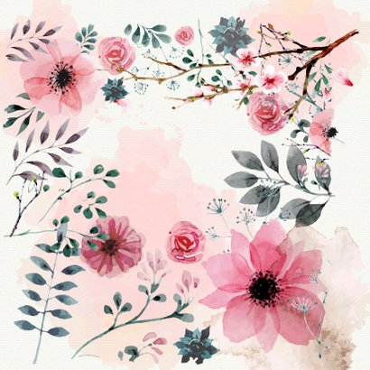 Zomaar ansichtkaart met watercolor bloemen 2
