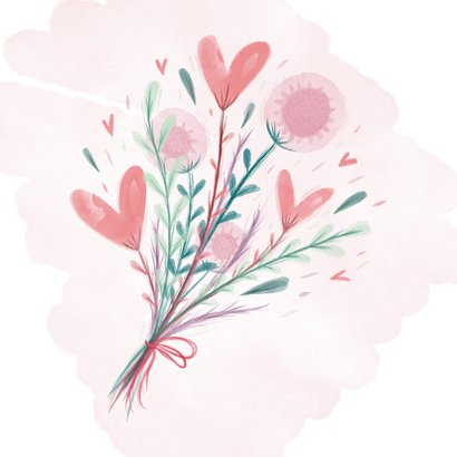 Zomaar een bloemetje waterverf bloemen en hartjes 2