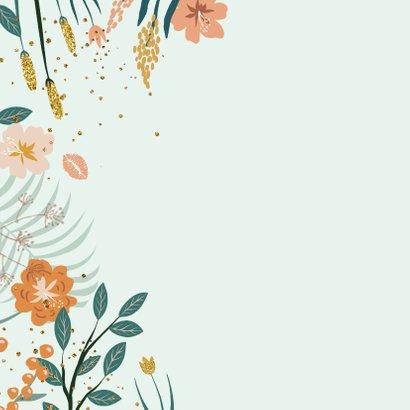 Zomaar kaart met bloemen en glitterlook 2