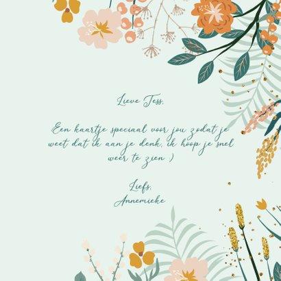 Zomaar kaart met bloemen en glitterlook 3