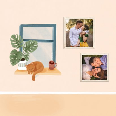 Zomaar kaart met raam, plant, kat & stoel 'we denken aan je' 2