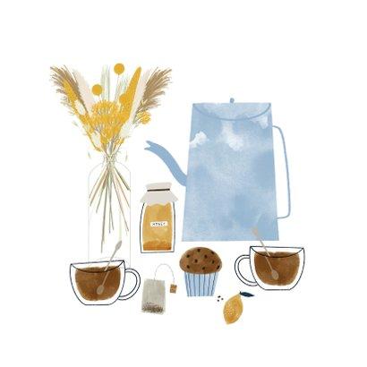 Zomaar kaart theetje, boeket en kus door de brievenbus 2
