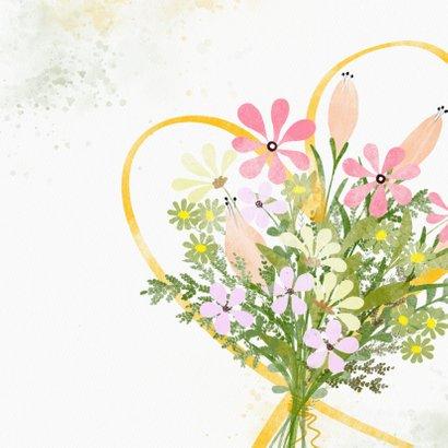 Zomaarkaart boeket bloemen geel hart 2