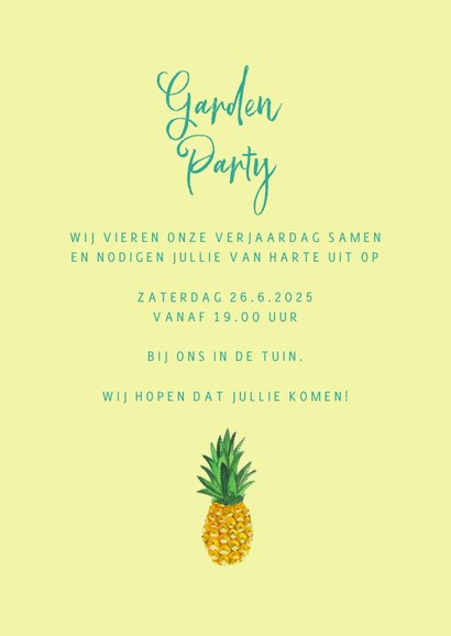 Zomer verjaardag feest ananas 3