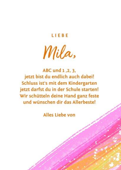 Zum Schulanfang Glückwunschkarte rosa Pinselstriche 3