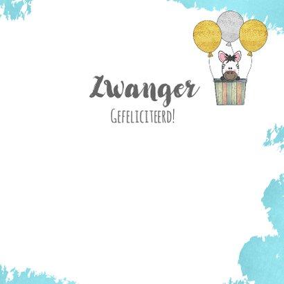 Zwanger felicitatie kaart met een luchtballon en zebra 3