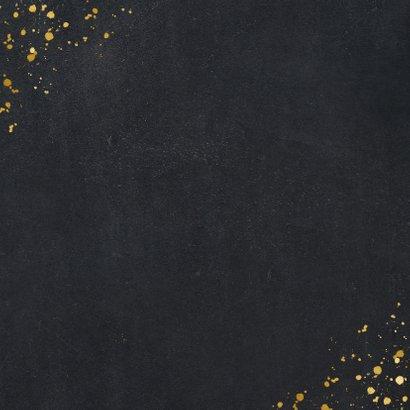 Zwarte vierkante kerstkaart met gouden hart met foto Achterkant
