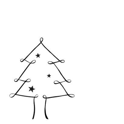 Zwartwit kerstkaart kerstboom 2