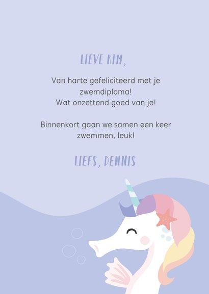 Zwemdiploma felicitatie kaart met een unicorn zeepaardje 3