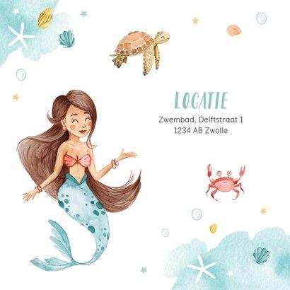 Zwemfeest uitnodiging kinderfeestje zeemeermin zeedieren 2