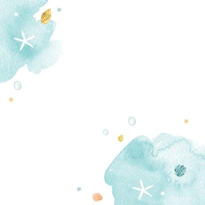 Zwemfeest uitnodiging kinderfeestje zeemeermin zeedieren Achterkant