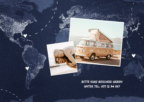Abschiedsparty Einladung Weltkarte 2