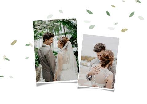 Bedankkaart bruiloft ecologisch blaadjes thank you fotokaart 2