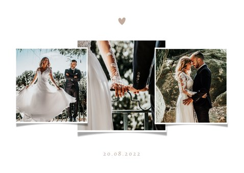 Bedankkaart bruiloft neutrale waterverf fotocollage 2