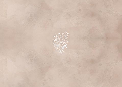 Bedankkaart bruiloft neutrale waterverf fotocollage Achterkant