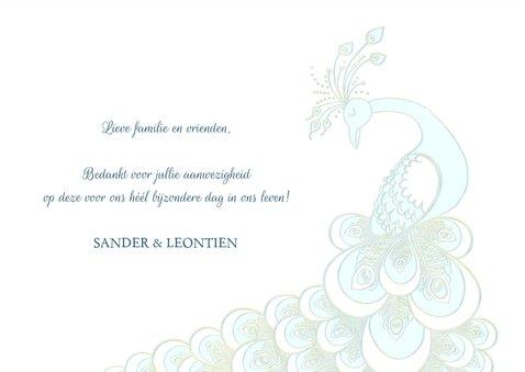 Bedankkaart sierlijke pauw wit-blauw-goud 3