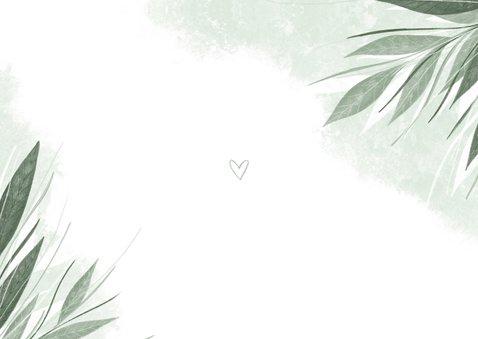 Bedankkaart stijlvol jungle bladeren met waterverf Achterkant