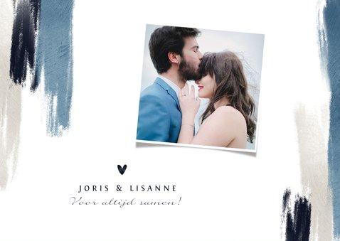 Bedankkaart trouwen blauw verf hartjes stijlvol fotocollage 2