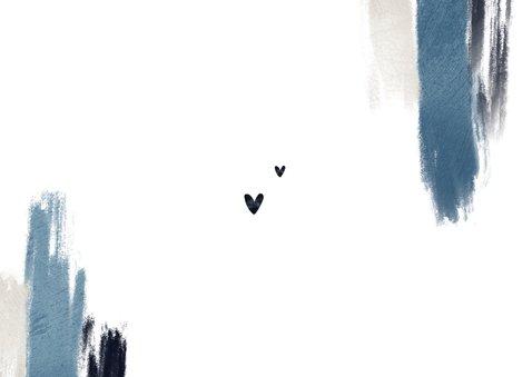 Bedankkaart trouwen blauw verf hartjes stijlvol fotocollage Achterkant