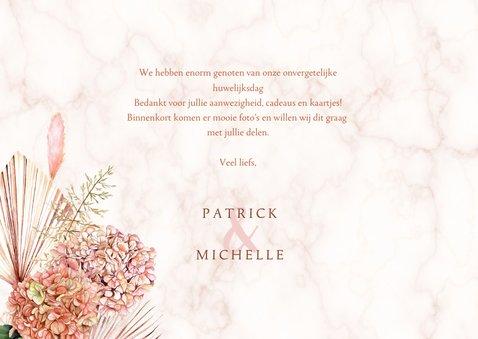 Bedankkaart trouwen hortensiabloemen 3