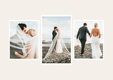 Bedankkaartje bruiloft stijlvol pastel lijntekening foto 2