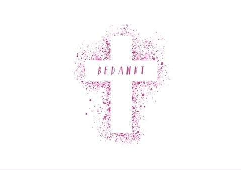 Bedankkaartje communie foto & kruis verfspetters roze 2
